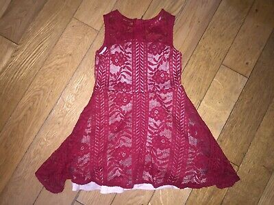 *River Island* Gorgeous Girls Red Sheer Lace Design Tutu Skirt Dress Party
