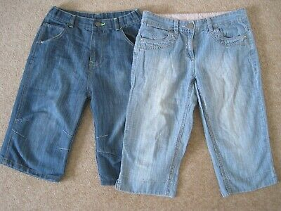Two pairs of cropped denim trousers with adjustable waist Next & Matalan 11-12