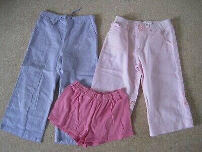 2 pairs of cropped trousers pink & purple & 1 pair of pink shorts  age 9-10