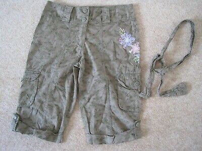 Khaki butterfly patterned cropped trousers from Matalan age 10-11 - VGC