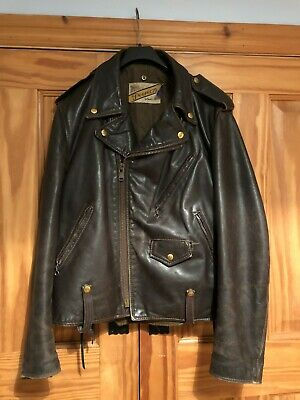Schott NYC Perfecto leather motorcycle jacket. Rare brown.