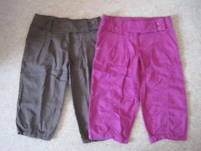 Small bundle of pink and brown long shorts / cropped trousers age 6-7 Next