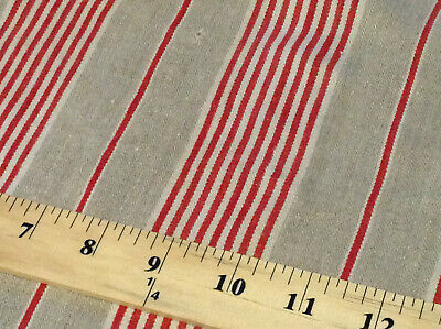 Antique French Linen Red Stripe Ticking Fabric Rustic Herringbone 19th C. 97""