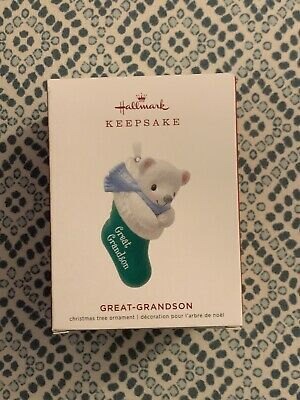 Hallmark Keepsake 2019 Great-Grandson Bear in Christmas Stocking Dated Ornament