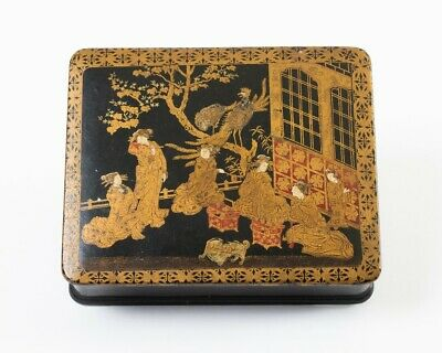 """Antique Japanese Gold & Red Painted Black Lacquer Box Meiji Period 7"""" x 6"""""""