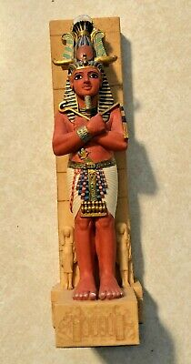 Ancient Egyptian Reproduction Pharaoh With Atef Crown With Horns Veronese Statue