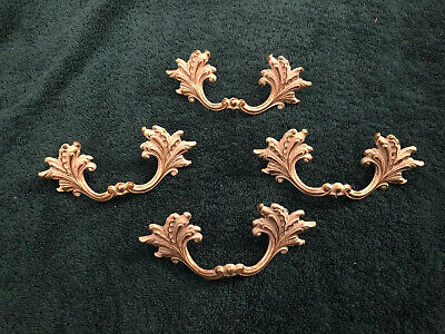 4 VTG French Provincial Painted Shabby Brass Broyhill Drawer Pulls Handles F2