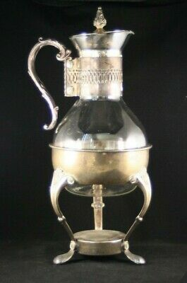 Vintage Silver Plated Glass Wine Decanter With Stand