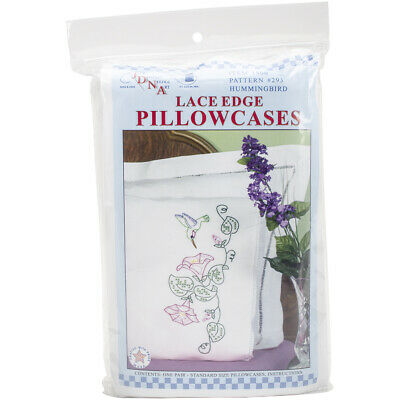 Jack Dempsey Stamped Pillowcases W/White Lace Edge 2/Pkg-Hummingbird, 1800 293