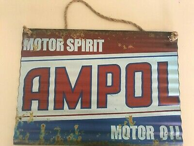 416047  AMPOL MOTOR SPIRIT MOTOR OIL TIN SIGN 30x40 WITH ROPE MAN CAVE POOL ROOM