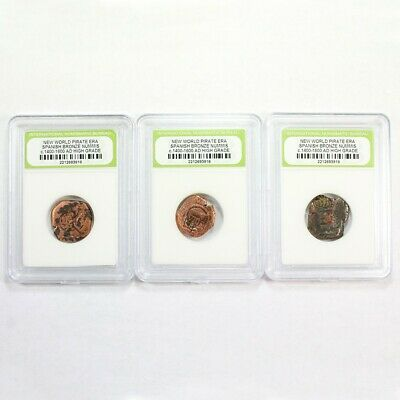 3 Pirate Era - 1600's Early America Spanish Bronze Cobs Exact Lot Shown 3415