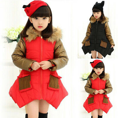 Kids Toddler Girls Long Sleeve Winter Fur Coat Padded Overcoat Hooded Outwear