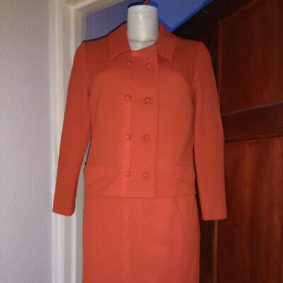 vintage retro mod red/burnt orange ladies suit 1960s/1970s
