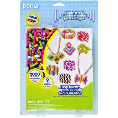 Perler Fused Beads n Rods Craft Kit Neon Jewellery - For Ages 8 and up