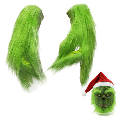 Kids Adults Grinch Stole Xmas Cosplay Christmas Gloves Mask Costume Party Props