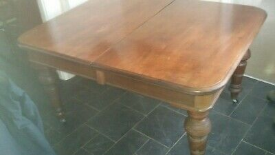 "Antique Victorian mahogany wind-out dining table, 42 x 43"" or 42 x 72 extended."