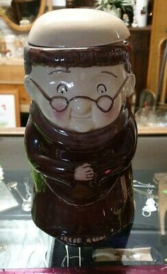 VINTAGE BISCUIT BARREL - FRIAR CHUCKY Monk Weiss Pottery Germany.
