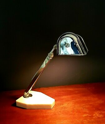 FRENCH ART DECO CHROME DESK LAMP.  ARTISINAT FRANCAIS c 1930