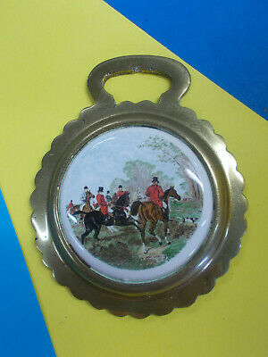 Antique Horse Brass With Ceramic Center - Fox Hunt Horses/Dogs Hang On Wall # 62