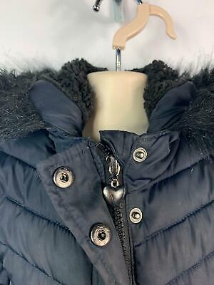 Girls Young Dimensions Primark Blue Padded Winter Coat Hooded Kids Age 2/3 Years