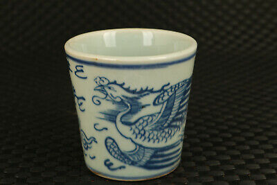 unique chinese blue and white porcelain hand painting phoenix cup