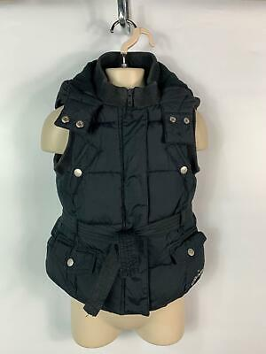 Girls Pineapple Black Padded Gilet Body Warmer Hooded Coat Kids Size 7 Years