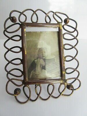 OLD ANTIQUE 1900s ARTS & CRAFTS COPPER GILT SMALL METAL PHOTO FRAME GLASS FRONT