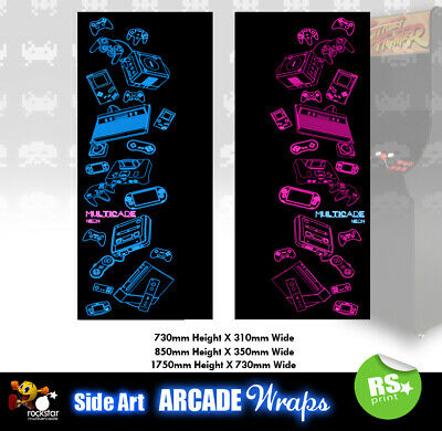 Multicade Neon Arcade Side Artwork Panel Stickers Graphics / Laminated All Sizes