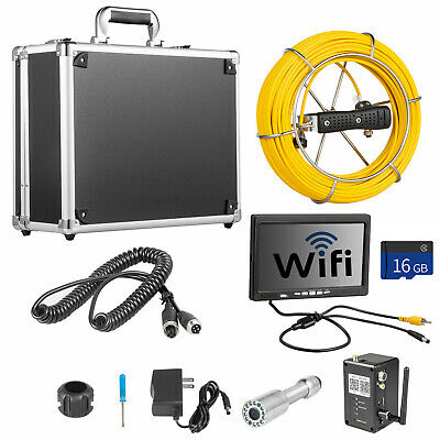 "7"" LCD Pipe Inspection Pipeline 20M Drain Wifi 16G Sewer Waterproof Camera w/DVR"