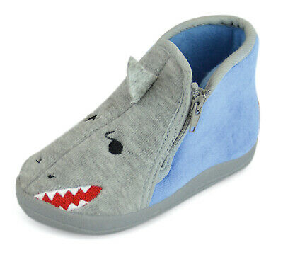 Baby Shark 3D Novelty Bootie Slippers Infants Toddlers Zip Up Boys Slipper Boots