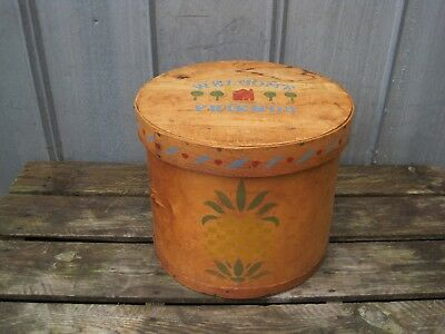 Vintage Large Round Bentwood Wooden Cheese Box Sewing Box  Pineapples Farmhouse