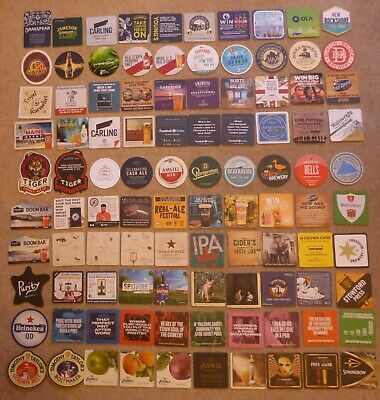 Beer Mats - 100 including, Brakspear, Jameson, Carling, Young's, Church End, etc