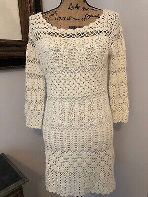 Hugo Boss Ivory Off White Crochet Holiday Dress Rare $375 Retail Designer S 4