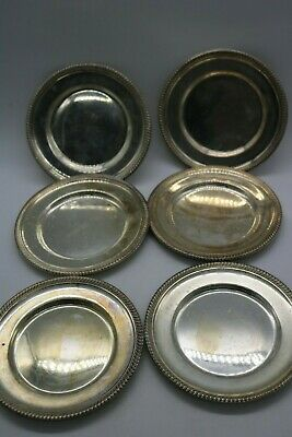 "Vintage M. Fred Hirsch Sterling Silver Plate Dish 6"" Set of 6 Bread or Dessert"