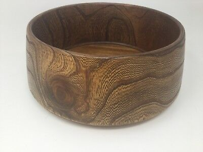 Large Vintage Japanese Keyaki Zelkova Serrata Elm Wood Serving Bowl 10""