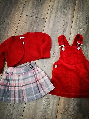 Next Bundle baby Girl Winter 6-9 Months red Pinafore chequered skirt Cardigan