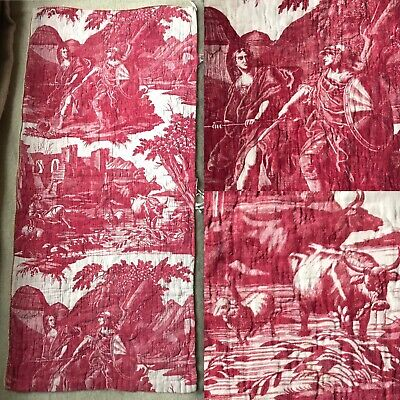 Beautiful Antique c1800 Toile de jouy - Nantes Quilted Linen panel 100/47cms