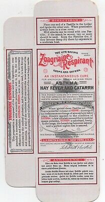 1910 Unused Unfolded Box for Zoagriaine Respirant for Asthma Hay Fever