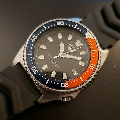 90' Seiko 7002 7010 Ss Midsize Date Dive Sn 009721 Pepsi Automatic Watch Nr