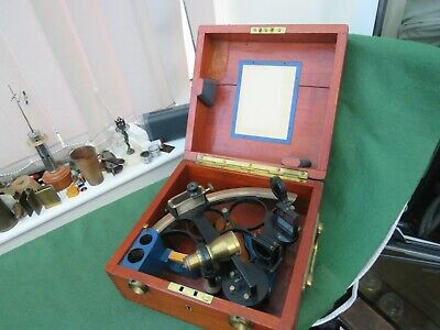 Vintage Henry Hughes & Son Ltd Sextant In Wooden Chest