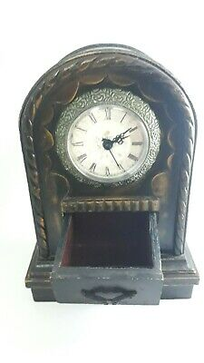 Rare Wooden Jewelery Box with Clock Vintage Peace And Old Figure Hand Made Decor