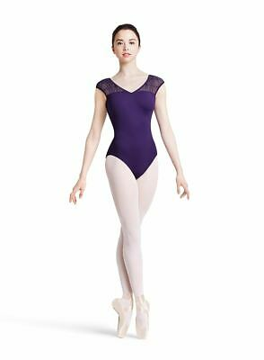 MIRELLA Jozette MJ7194 capsleeve leotard Weave front Ladies szs black