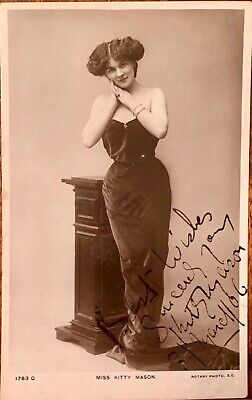 KITTY MASON : FAMOUS MUSIC HALL DANCER LATE 1800's EARLY 1900's AUTOGRAPHED CARD