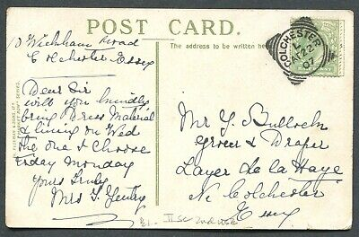 """Great Britain Squared Circle Cancel """"Colchester"""" On Postcard"""