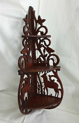 vintage BLACK FOREST DEER STAG BIRD WOOD SHELF ornate wall tramp art fretwork