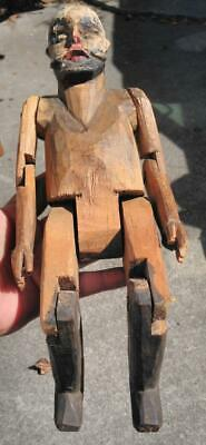 Antique Old Hand Carved Wood Jointed Statue Man Doll Folk Art Americana Wooden