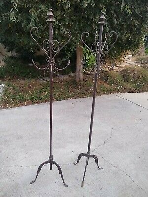Iron Entry Hall Tree/Coat Rack Rair matched Pair ornate iron twisted