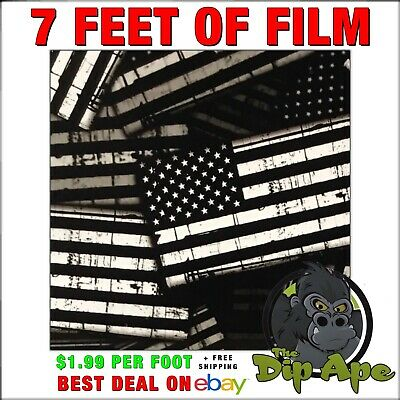Hydrographic film GARRISON FLAGS AMERICAN black and clear hydro dip dipping 7'