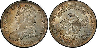 1829 Capped Bust Half Dollar, high AU low MS, toning, well-struck! UNC!
