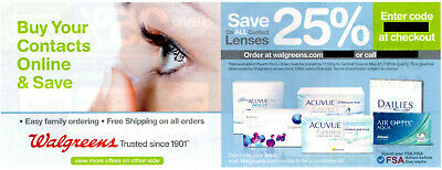 Walgreens Online Coupon: 25% off All Contact Lenses, Exp 5/31/20, May 31 2020